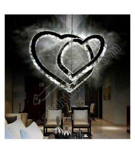 لوستر کریستالی مدرن طرح قلب دوبل ایدوست