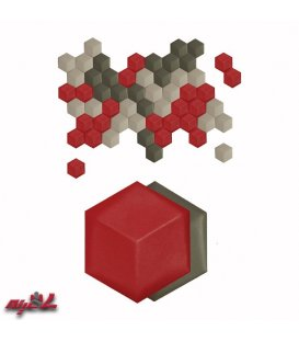 دیوارپوش تمام چرم 3بعدی شش ضلعی آمودپنل